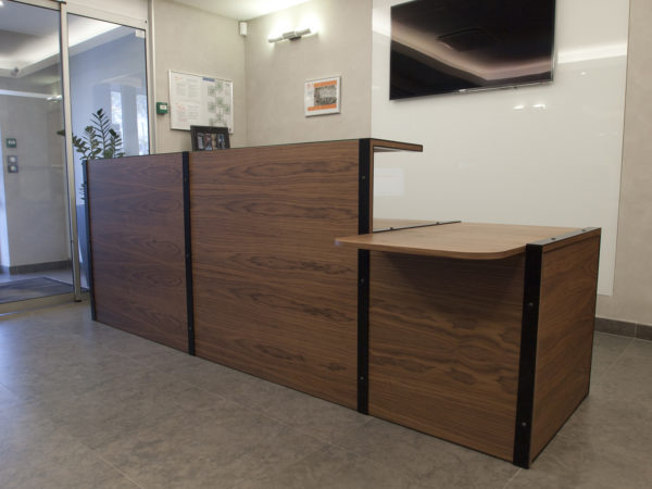Designer reception desk in wood and metal