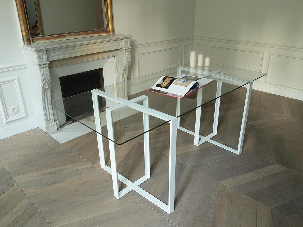 Bureau verre tremp et acier mobilier de cr ateur - Plateau verre trempe bureau ...