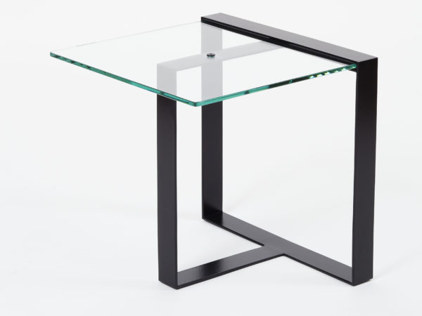 Side table in steel and glass