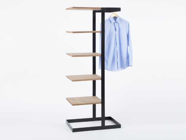 Designer shelf in wood and metal