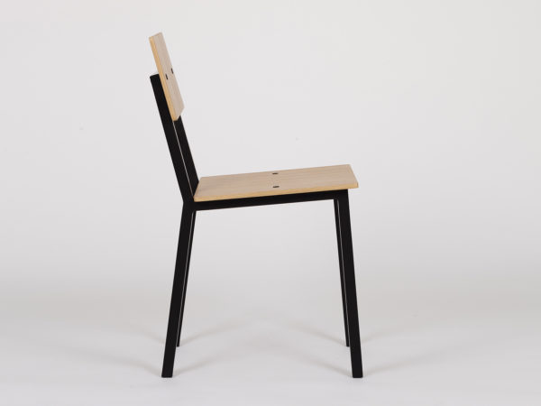 designer chair in wood and steel