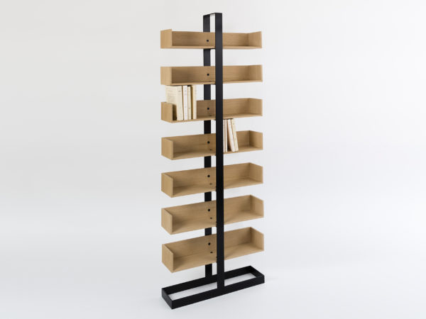 Designer bookshelf in wood and metal