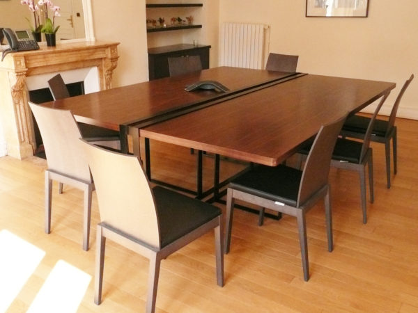 Designer conference table in wood and metal