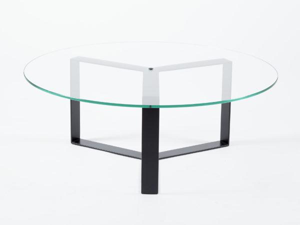 Table basse ronde verre et métal noir