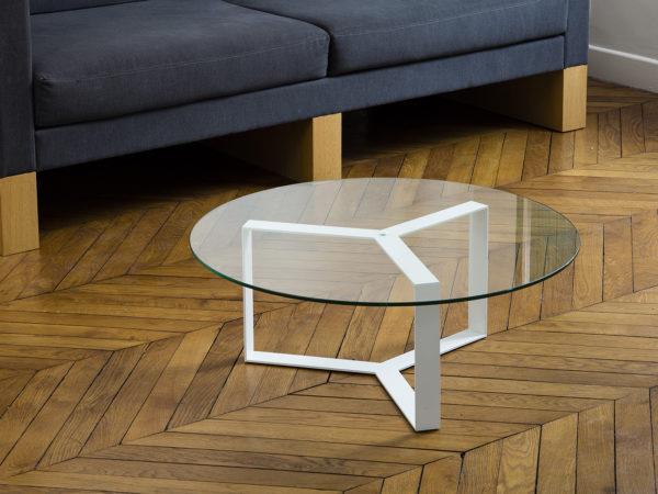 Table basse ronde en verre et métal