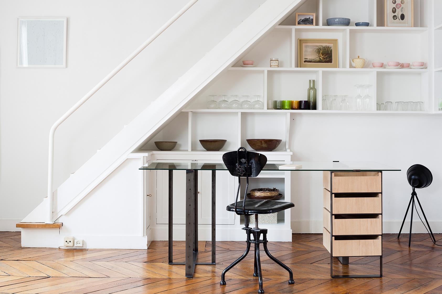 Bureau design en métal verre et bois