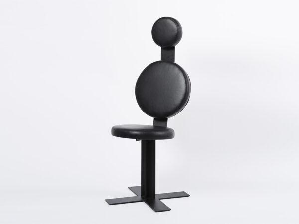 Fauteuil de bureau design Mayet cuir noir et métal noir mat