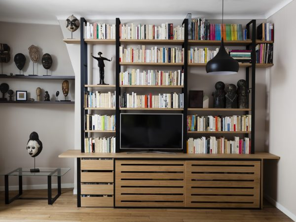 designer bookshelf in metal and wood