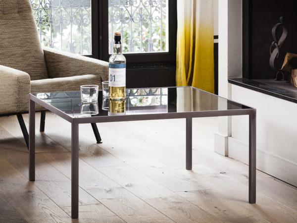 Table Basse design verre teinté et métal brossé Vaneau