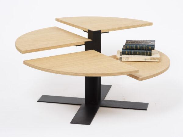 Table basse ronde design bois et métal Mayet