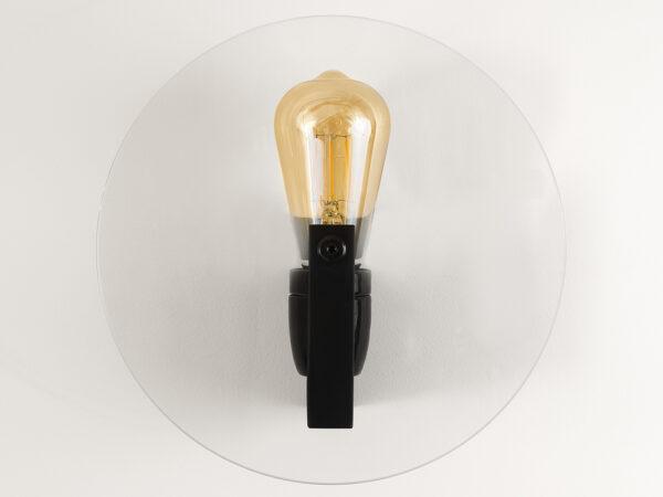 Applique design ronde en verre et métal noir mat Vaneau