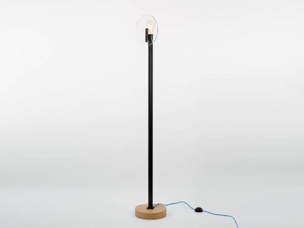 Lampadaire design en verre bois et métal Vaneau par Alex de Rouvray