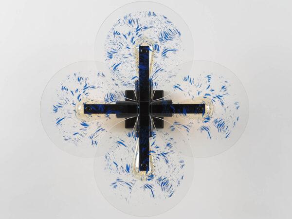 Plafonnier design Vaneau verre et métal noir par Alex de Rouvray avec Oeuvre d'Etienne de Fleurieu